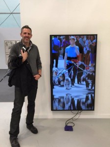 Niio Co-Founder in front of a work by Cory Arcangel in the Lisson Booth @ Frieze NYC.