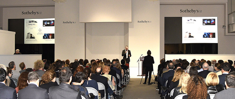 Niio co-founder & CEO, Rob Anders presenting to a full house at Sotheby's.