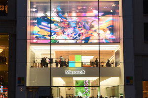 NEW YORK, NY - MARCH 30: An exterior view of the unveiling of an original art installation created by renowned artist Tabor Robak for the Flagship Microsoft Store on Thursday, March 30, 2017 in New York City. (Photo by Dave Kotinsky/Getty Images for Microsoft)